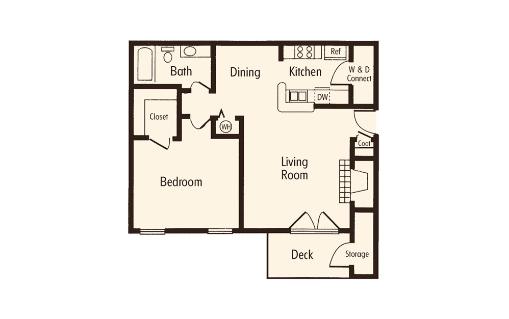 One Bedroom 1 Bath Floorplan