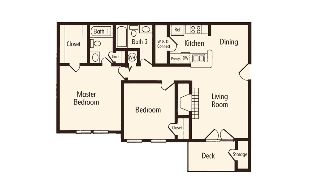 Two Bedroom 2 Bath Floorplan
