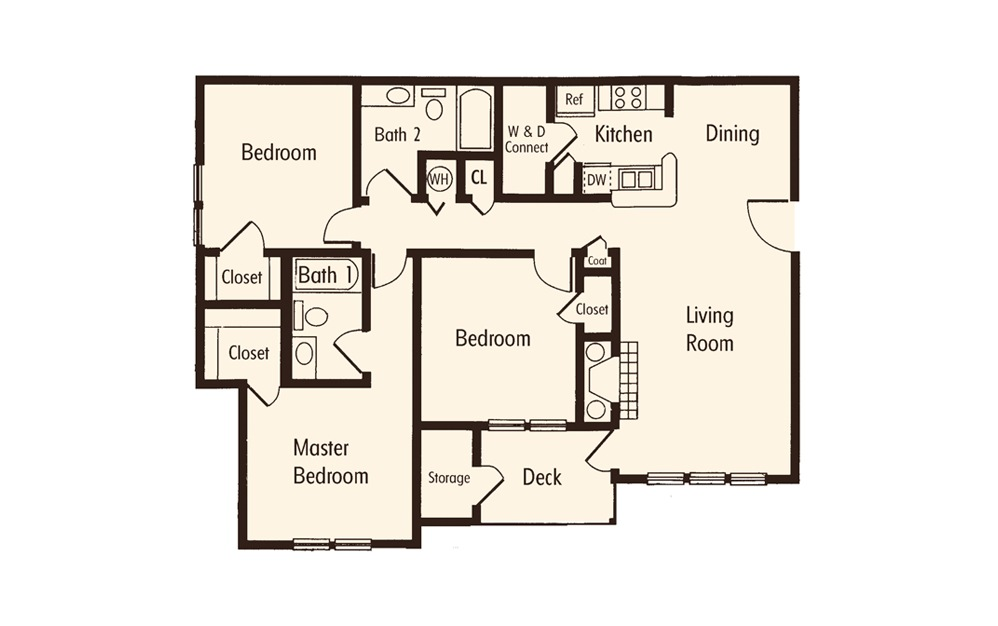 Three Bedroom Two Bath Floorplan
